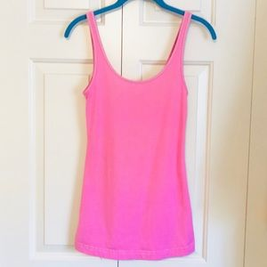 Lululemon Neon Pink and White Stripe tank